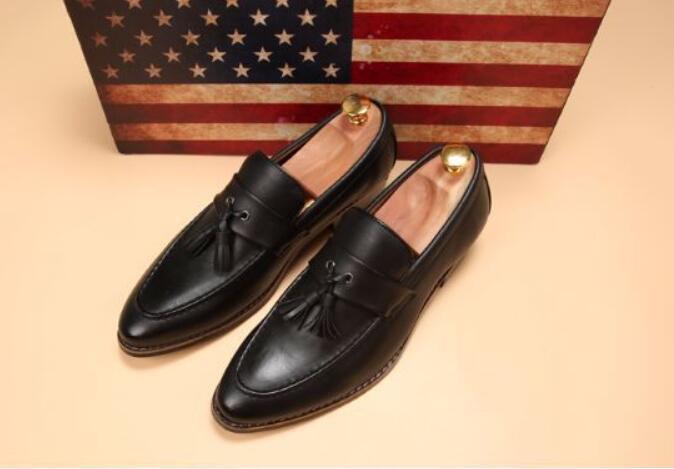 新品メンズ ビジネスシューズ ローファースリッポン ウォーキングシューズ カジュアル 革靴 紳士靴 通勤 黑26.5cm_画像2