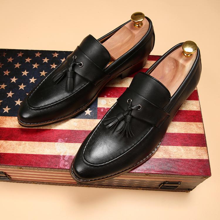 新品メンズ ビジネスシューズ ローファースリッポン ウォーキングシューズ カジュアル 革靴 紳士靴 通勤 黑26.5cm_画像1