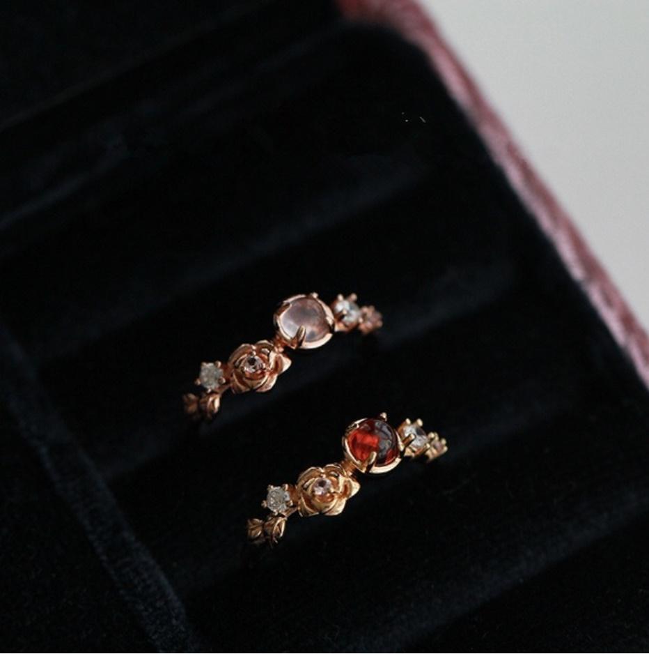 S1682 【今だけセール・数量1個】 女性 ローズゴールド フラワー リング 指輪 レディ―ス ファッション アクセサリー レッド 赤_画像3