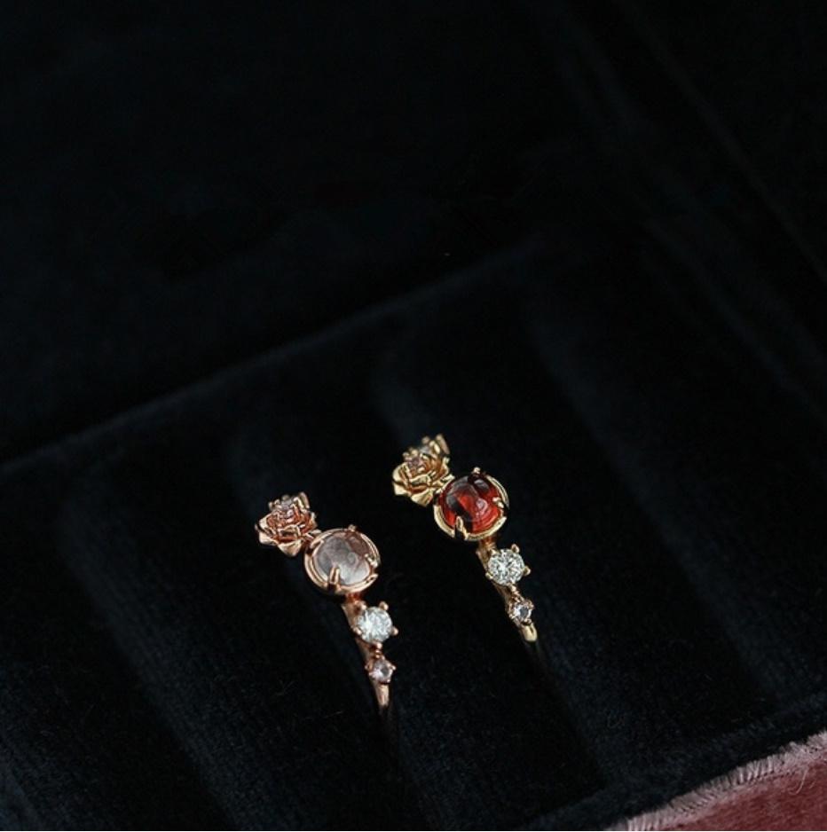 S1682 【今だけセール・数量1個】 女性 ローズゴールド フラワー リング 指輪 レディ―ス ファッション アクセサリー レッド 赤_画像4