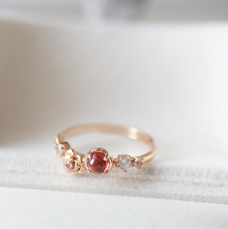 S1682 【今だけセール・数量1個】 女性 ローズゴールド フラワー リング 指輪 レディ―ス ファッション アクセサリー レッド 赤_画像7