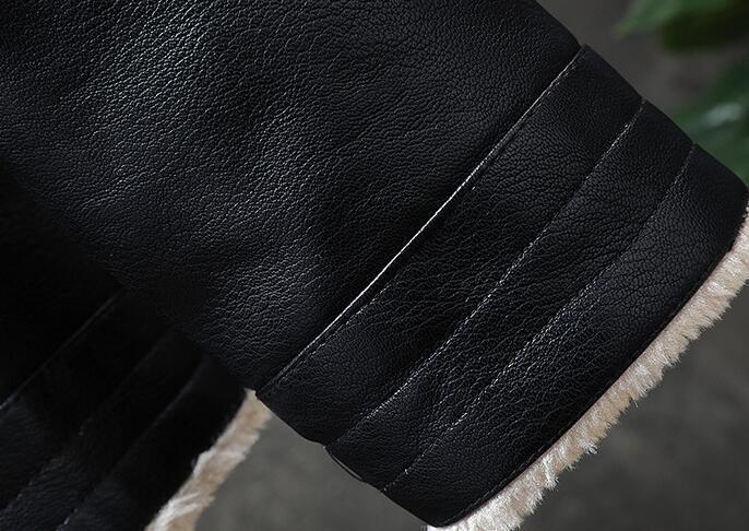 ライダース 裏起毛 メンズ レザージャケット 裏ボア 革ジャン バイクウェア 無地 レザーコート ライダースジャケット 防寒防風 M-3XL_画像5
