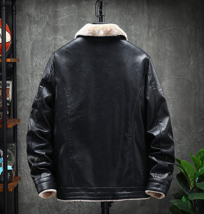 ライダース 裏起毛 メンズ レザージャケット 裏ボア 革ジャン バイクウェア 無地 レザーコート ライダースジャケット 防寒防風 M-3XL_画像3