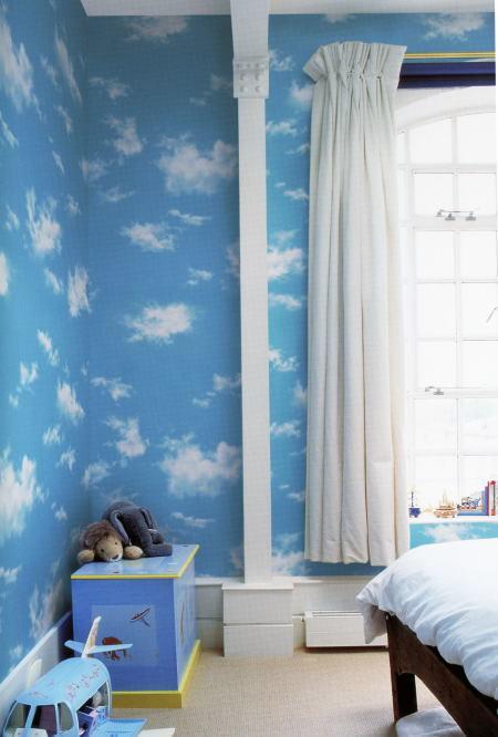 ☆大特価!ポップな青空と雲の柄の壁紙クロス  税込_画像1