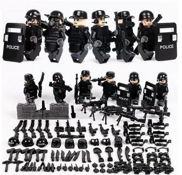 MOC LEGO レゴ ブロック 互換 SWAT 特殊部隊 アンチテロ部隊 カスタム ミニフィグ 6体セット 大量武器・装備・兵器付き D217_画像1