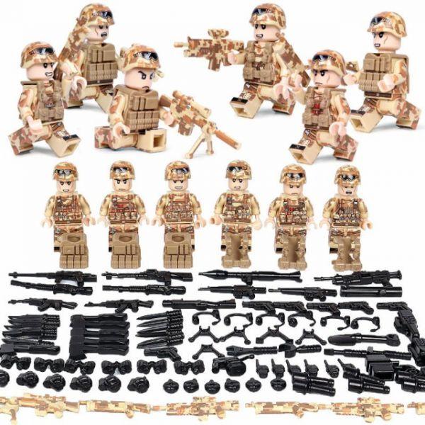MOC LEGO レゴ ブロック 互換 ARMY ロシア軍特殊部隊 砂漠戦 カスタム ミニフィグ 6体セット 大量武器・装備・兵器付き D218_画像1