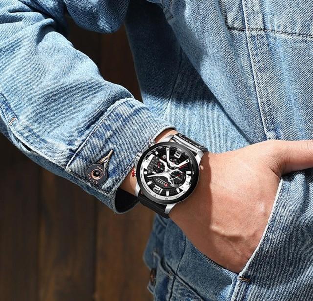 2019トップブランドカレンファッションメンズ腕時計ミリタリーレザー防水クォーツ腕時計男性スポーツクロノグラフレロジオmasculino Blac_画像6