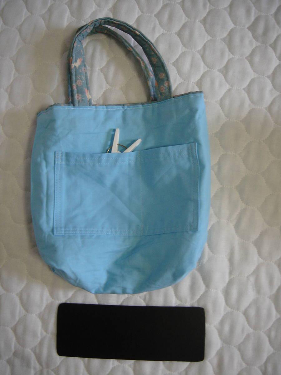 ハンドメイド★手提げバッグ 大小2点セットトートバッグ キルト/ウサギ柄/和柄_底板付き 内ポケットあり