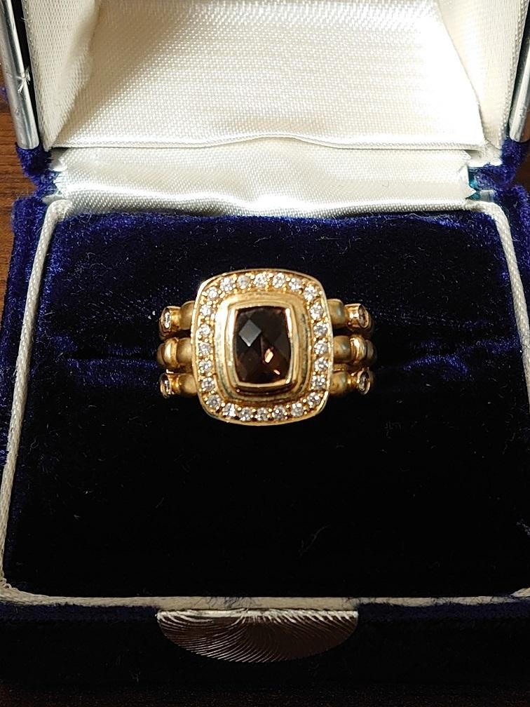 本物 14K 宝石付きリング 7.8g ダイヤ0.28ct_画像1