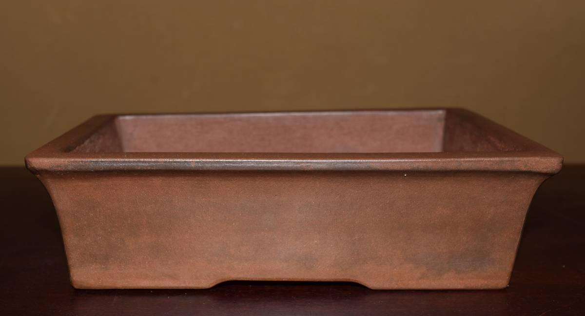 中国古盆器<清代・紫泥(留佩)・実用性・泥味・時代乗り抜群>外縁長方鉢・間口21,0cm