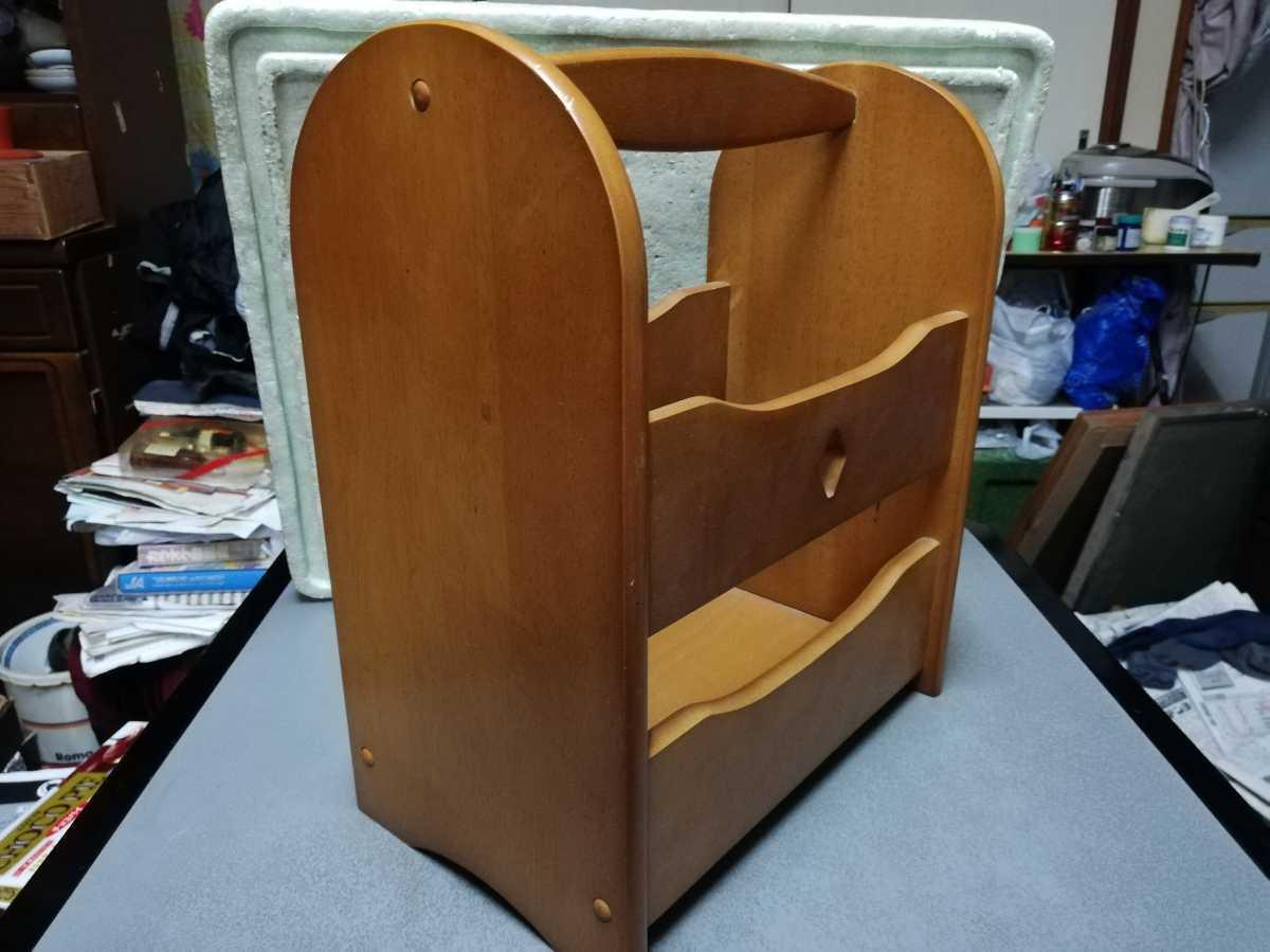 昭和レトロ アンティーク 収納箱 本棚 木製品 横29.5奥行き18㎝高さ35㎝ 同梱包可能_画像2