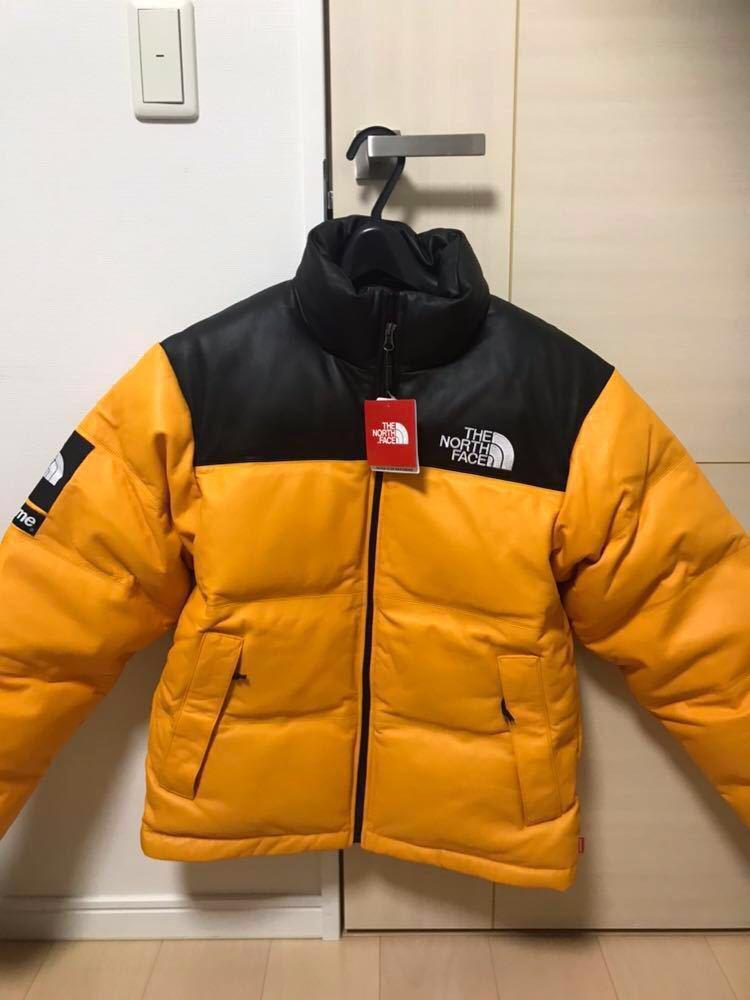 17aw Supreme×The North Face Leather Nuptse Jacket 新品 国内正規品 S イエロー シュプリーム ノースフェイス レ?#35746;`ヌプシ 売り切り