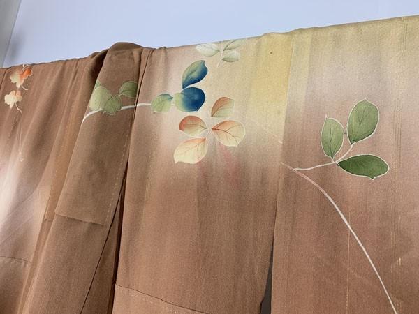 きものさらさ アンティーク 訪問着 茶 ブラウン 薔薇 刺繍 正絹 古布 KIMONO姫 モダン ヴィンテージ_画像10
