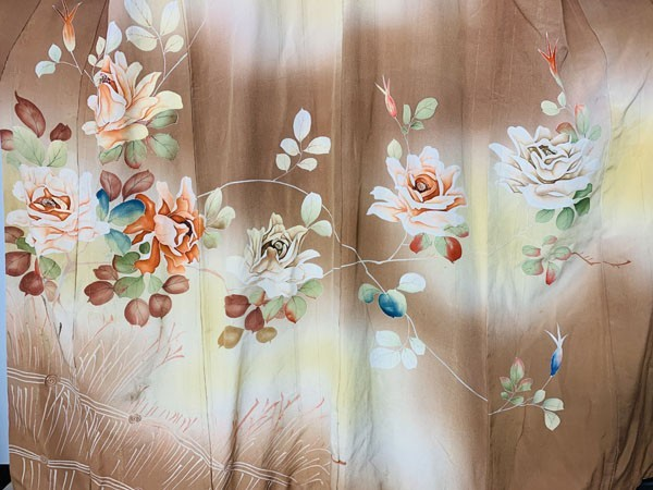 きものさらさ アンティーク 訪問着 茶 ブラウン 薔薇 刺繍 正絹 古布 KIMONO姫 モダン ヴィンテージ_画像6