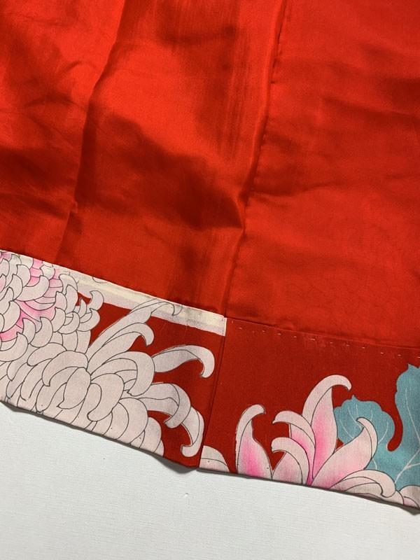 きものさらさ アンティーク 長襦袢 赤地に菊 じゅばん 正絹 大正ロマン アンティーク着物にも リメイク_画像4