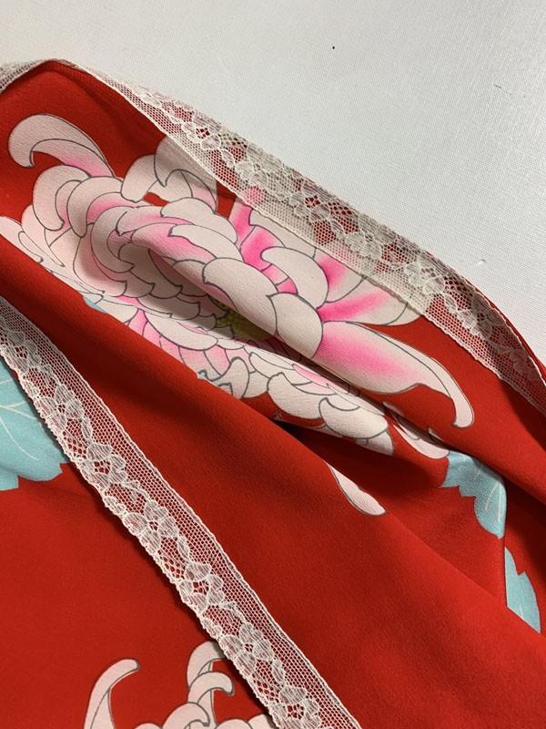 きものさらさ アンティーク 長襦袢 赤地に菊 じゅばん 正絹 大正ロマン アンティーク着物にも リメイク_画像10