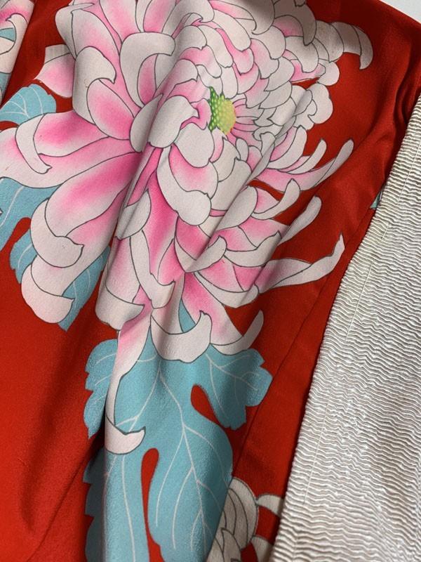 きものさらさ アンティーク 長襦袢 赤地に菊 じゅばん 正絹 大正ロマン アンティーク着物にも リメイク_画像8