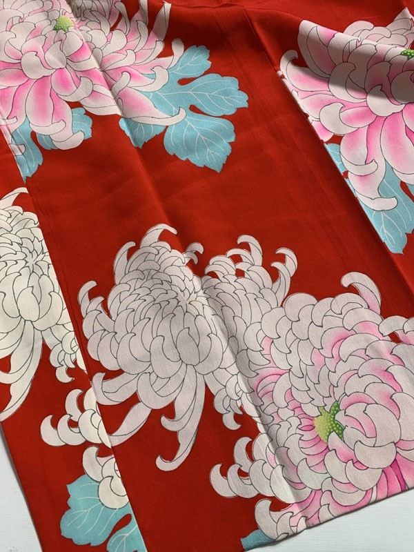 きものさらさ アンティーク 長襦袢 赤地に菊 じゅばん 正絹 大正ロマン アンティーク着物にも リメイク