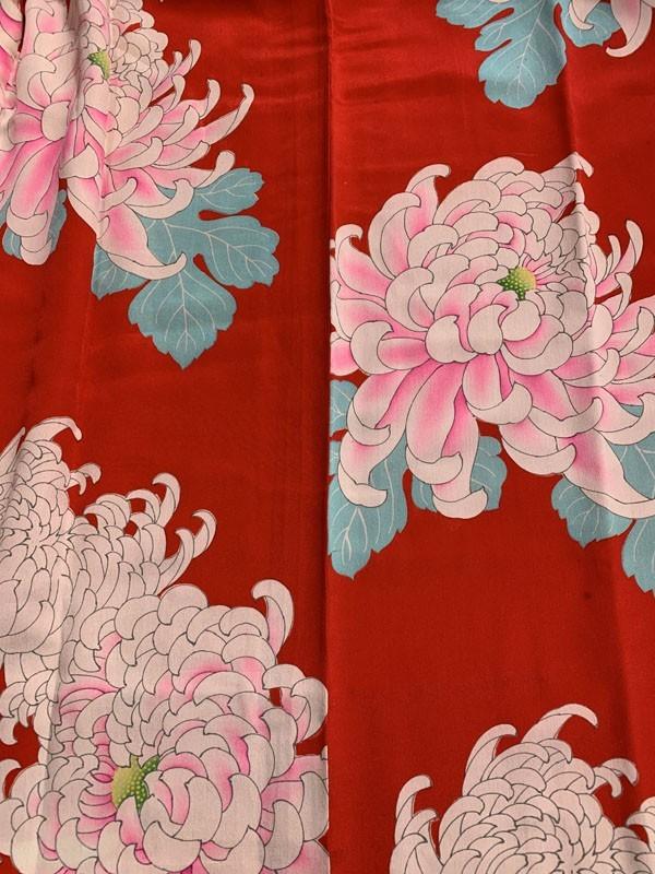 きものさらさ アンティーク 長襦袢 赤地に菊 じゅばん 正絹 大正ロマン アンティーク着物にも リメイク_画像7