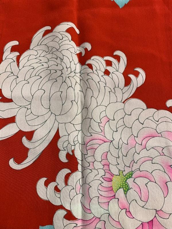 きものさらさ アンティーク 長襦袢 赤地に菊 じゅばん 正絹 大正ロマン アンティーク着物にも リメイク_画像6