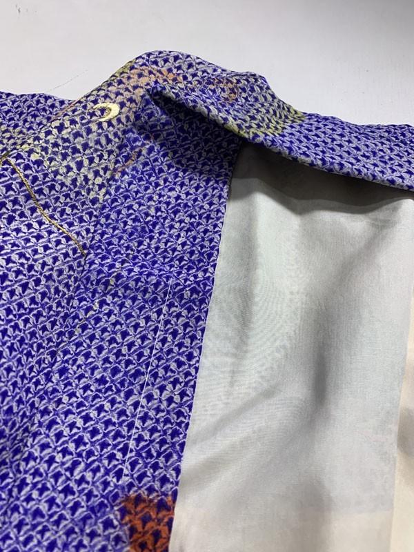 きものさらさ アンティーク 羽織 絞り 蝶 刺繍 大正ロマン 正絹 アンティーク着物にも! 古布 リメイク_画像8