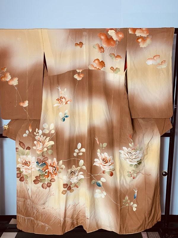 きものさらさ アンティーク 訪問着 茶 ブラウン 薔薇 刺繍 正絹 古布 KIMONO姫 モダン ヴィンテージ