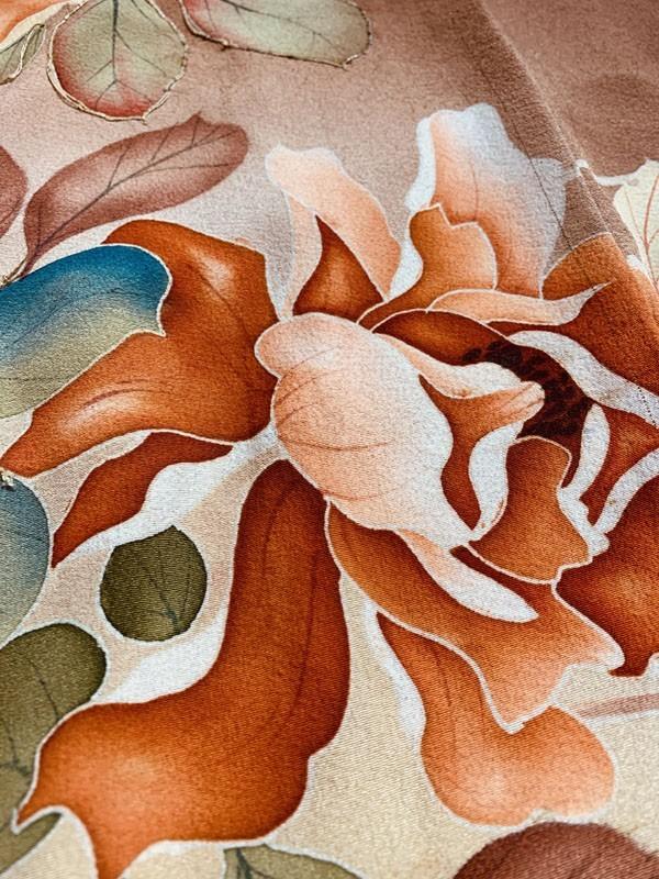 きものさらさ アンティーク 訪問着 茶 ブラウン 薔薇 刺繍 正絹 古布 KIMONO姫 モダン ヴィンテージ_画像2