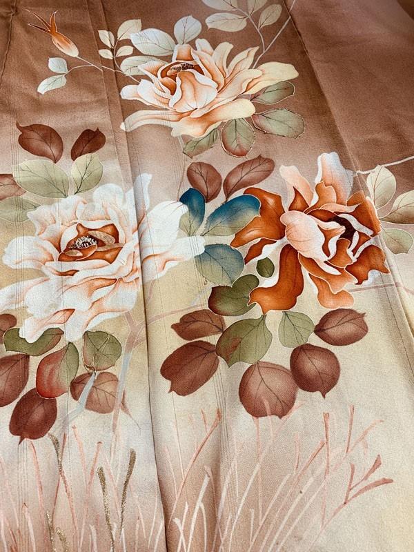 きものさらさ アンティーク 訪問着 茶 ブラウン 薔薇 刺繍 正絹 古布 KIMONO姫 モダン ヴィンテージ_画像3