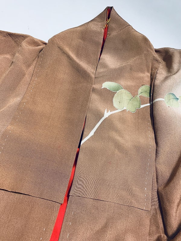 きものさらさ アンティーク 訪問着 茶 ブラウン 薔薇 刺繍 正絹 古布 KIMONO姫 モダン ヴィンテージ_画像5