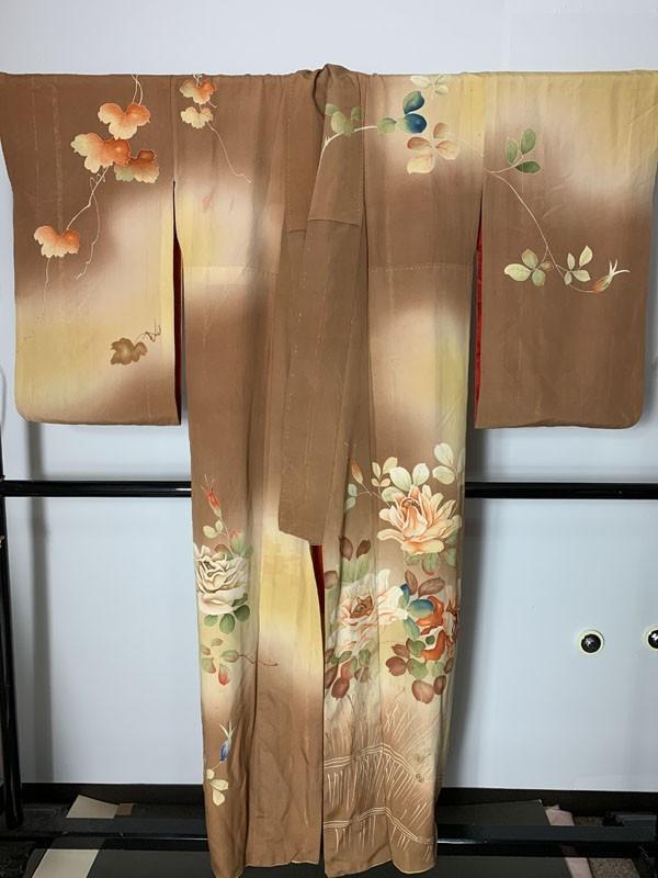 きものさらさ アンティーク 訪問着 茶 ブラウン 薔薇 刺繍 正絹 古布 KIMONO姫 モダン ヴィンテージ_画像8