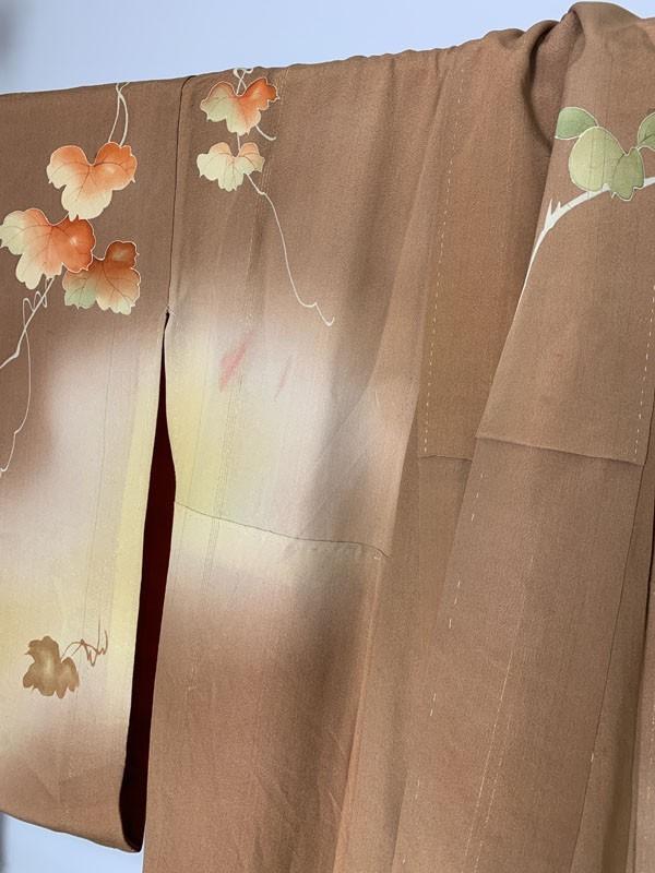 きものさらさ アンティーク 訪問着 茶 ブラウン 薔薇 刺繍 正絹 古布 KIMONO姫 モダン ヴィンテージ_画像9