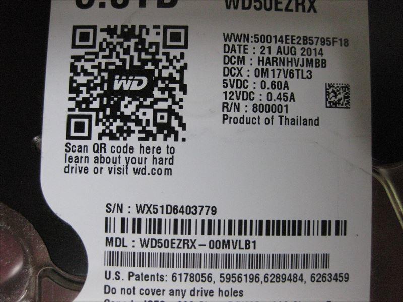 中古 WDC WD50EZRX-00MVLB1 5TB 6403779_画像7