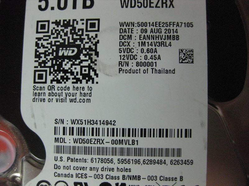 中古 WDC WD50EZRX-00MVLB1 5TB 3414942_画像7