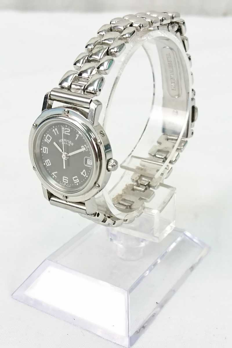 【GU-526】 HERMES エルメス クリッパー CL4.210 レディース 腕時計 デイト クォーツ 黒文字盤 ブラック 女性用 SWISS MADE