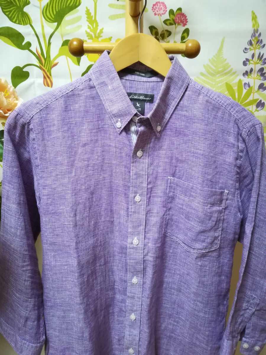 Eddie Bauer エディー・バウアー紫色リネン七分丈シャツSサイズ