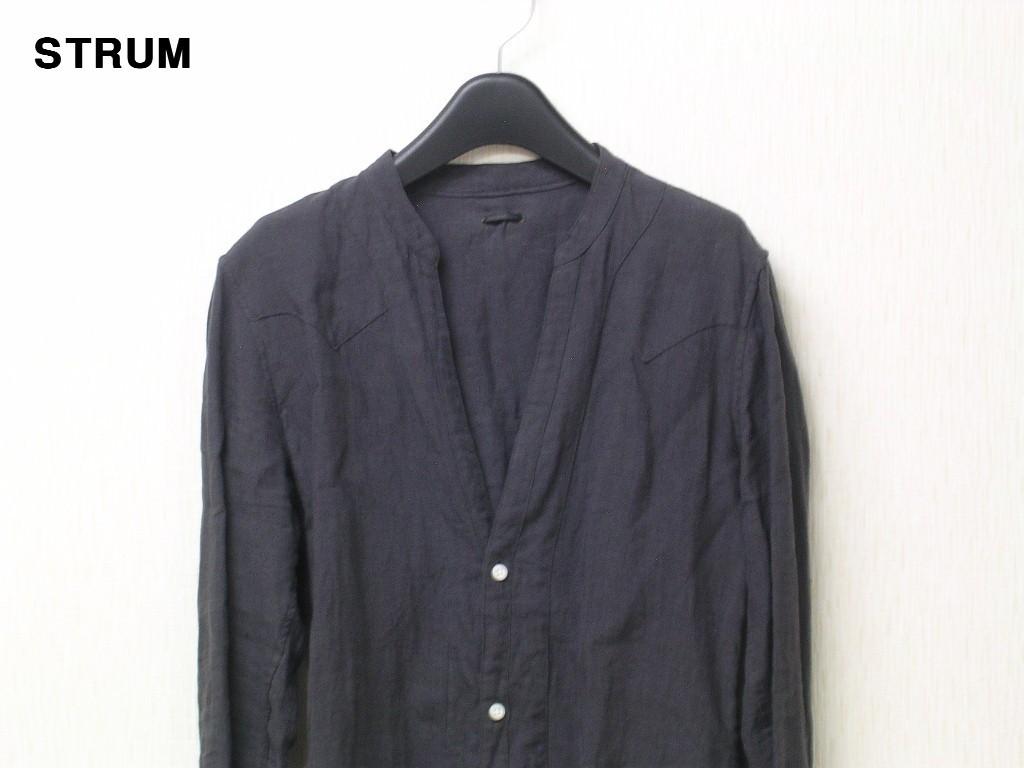 3 \29,700【STRUM ストラム リネンノーカラーシャツ グレー STC044-02-GRAY HEMP 麻 ヘンプ】_画像2