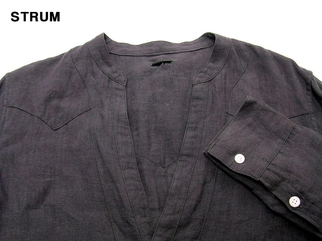 3 \29,700【STRUM ストラム リネンノーカラーシャツ グレー STC044-02-GRAY HEMP 麻 ヘンプ】_画像3