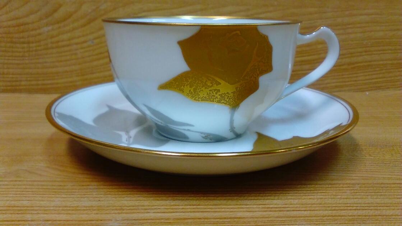 ■大倉陶園 オークラ OKURA カップ&ソーサー 6客セット ゴールド/バラ■_画像2