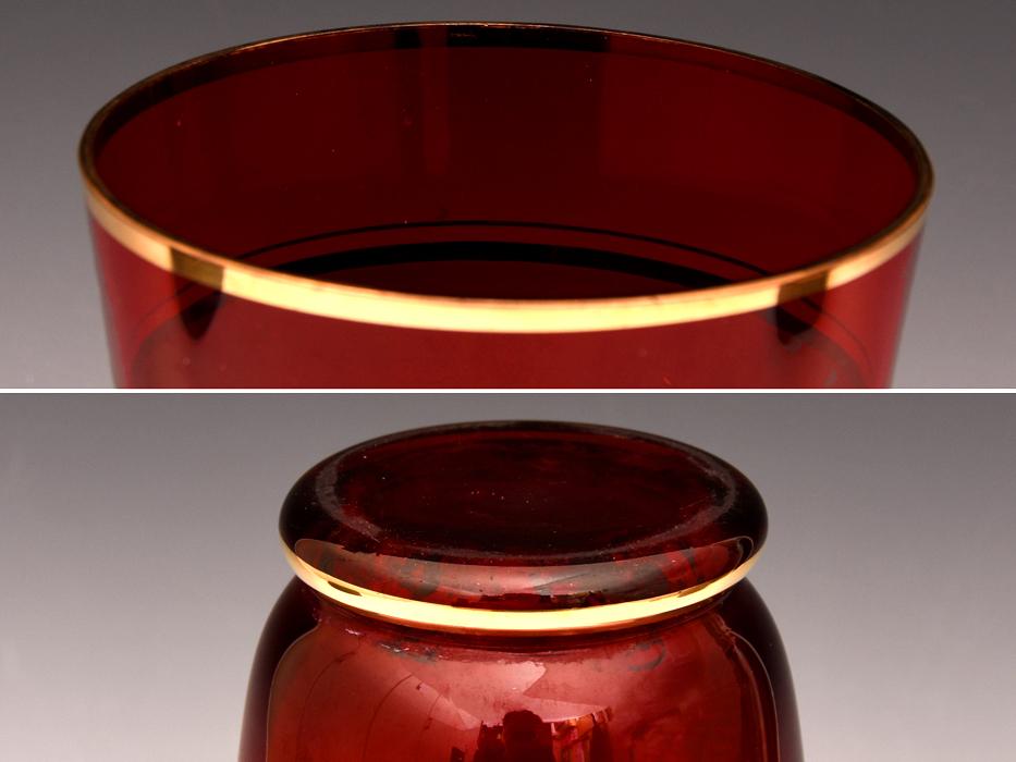 ボヘミア ガラス Bohemian Glass チェコスロバキア 金彩花文 フラワーベース 高:25.5㎝ 硝子工芸 花瓶 花器 花生 西洋美術 b7098n_画像4