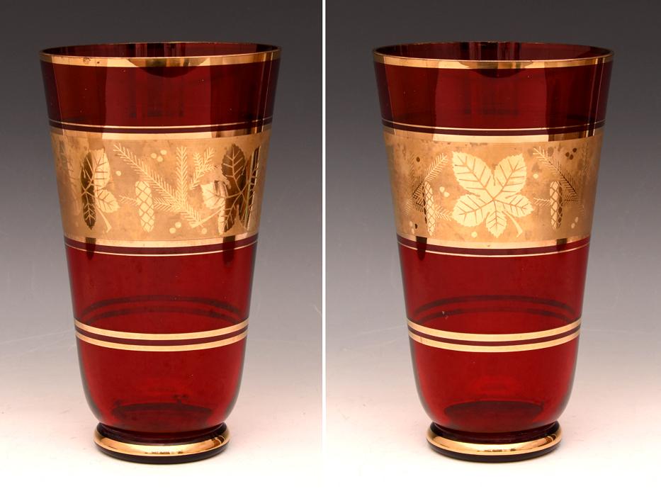 ボヘミア ガラス Bohemian Glass チェコスロバキア 金彩花文 フラワーベース 高:25.5㎝ 硝子工芸 花瓶 花器 花生 西洋美術 b7098n_画像3