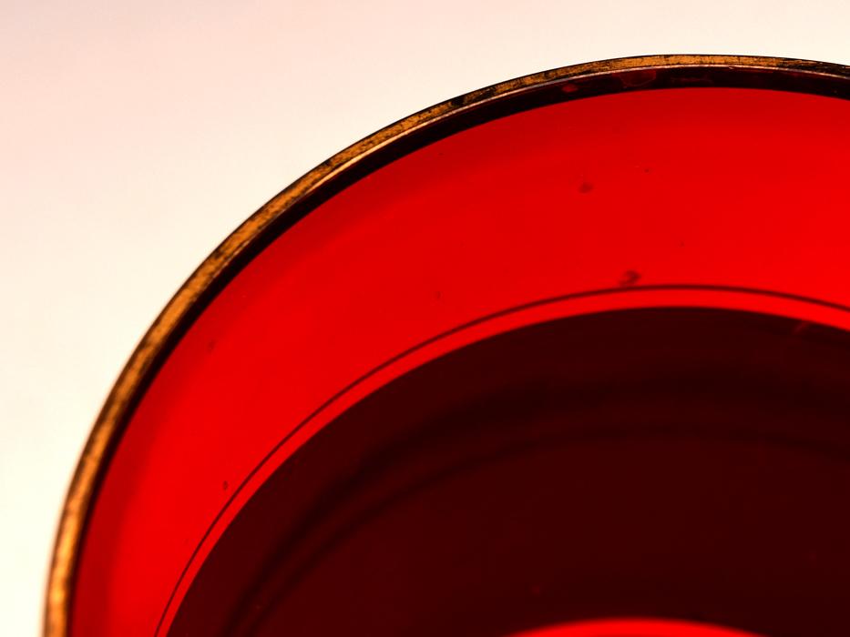 ボヘミア ガラス Bohemian Glass チェコスロバキア 金彩花文 フラワーベース 高:25.5㎝ 硝子工芸 花瓶 花器 花生 西洋美術 b7098n_画像6