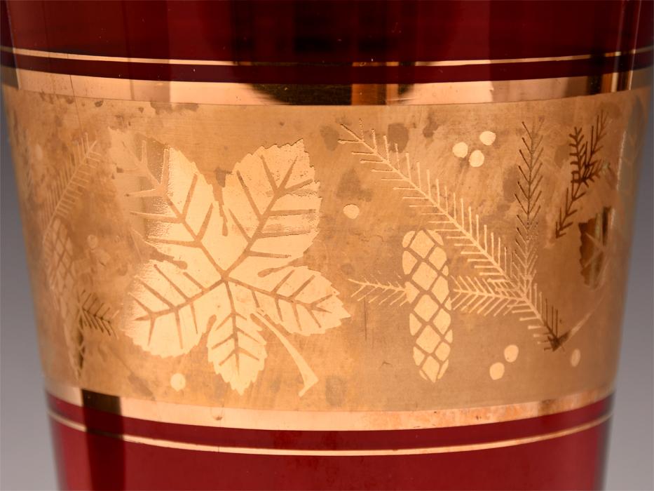ボヘミア ガラス Bohemian Glass チェコスロバキア 金彩花文 フラワーベース 高:25.5㎝ 硝子工芸 花瓶 花器 花生 西洋美術 b7098n_画像5