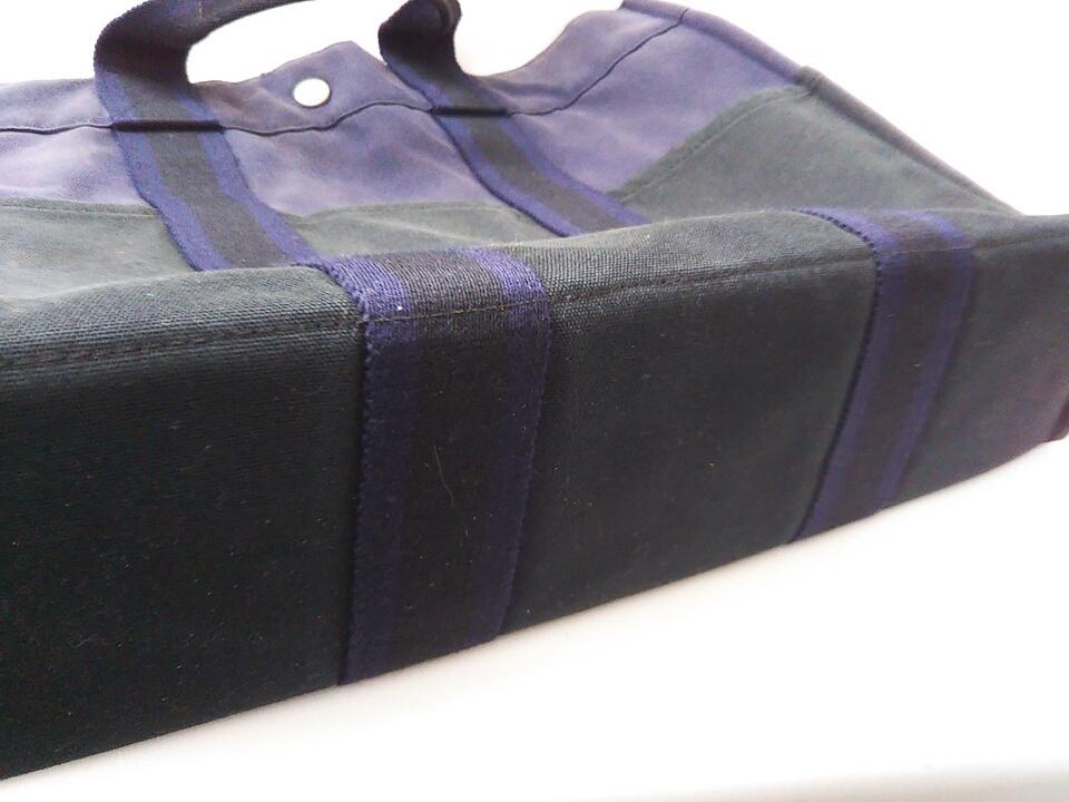 【即決】【HERMES】 エルメス フールトゥMM ハンドバッグ バッグ 鞄 ブラック ネイビー 黒 紺色 角スレ有り 汚れ有り 中古_画像7