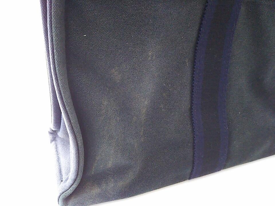 【即決】【HERMES】 エルメス フールトゥMM ハンドバッグ バッグ 鞄 ブラック ネイビー 黒 紺色 角スレ有り 汚れ有り 中古_汚れ、シミがございます。