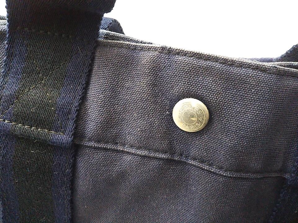 【即決】【HERMES】 エルメス フールトゥMM ハンドバッグ バッグ 鞄 ブラック ネイビー 黒 紺色 角スレ有り 汚れ有り 中古_画像9
