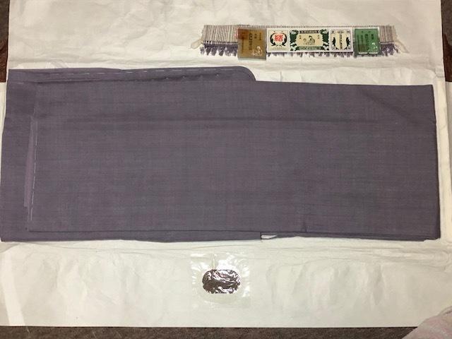 ◇未使用 本場結城紬「結」印 重要無形文化財 証紙付き 丈161.5cm