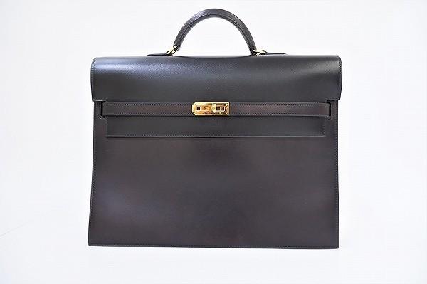 #apb エルメス HERMES ケリーデペッシュ38 ブリーフケース ビジネスバッグ □I刻印 G金具 黒系 メンズ [422820]