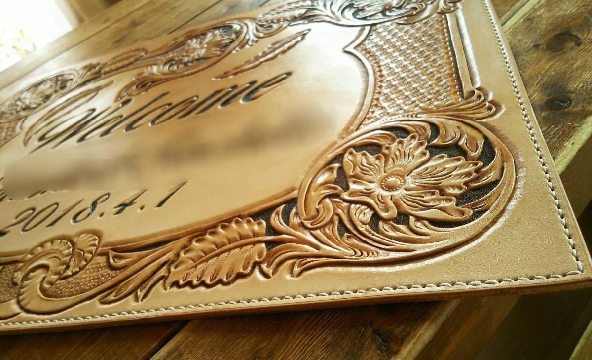 ハンドメイド ウェルカムボード 結婚式 記念 レザーカービング ウェディング ブライダル 似顔絵_裏に文字入れ可能 +1000円