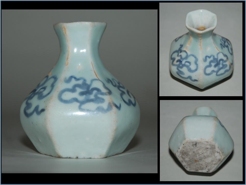 李朝 広州官窯金沙里窯 白磁青華寶珠文面取小瓶
