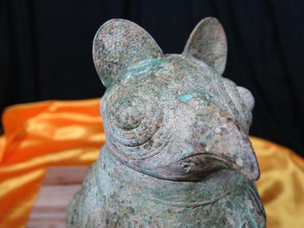 古代鳥人物文青銅器 中国 遺跡発掘品 明器 副葬品 饕餮文_画像3